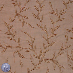"Silk Embroidered Vines Shantung - 44"" 13 Pale Sienna"
