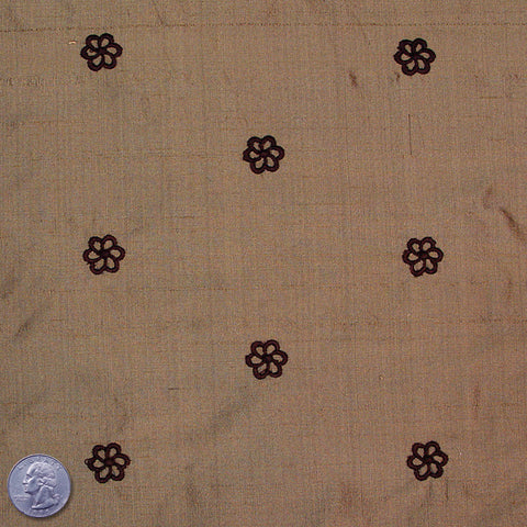 Silk Embroidered Geo Floral Shantung 13 Tan Crimson