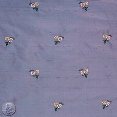 Silk Embroidered Ditsy Floral Shantung #1 15 Purple