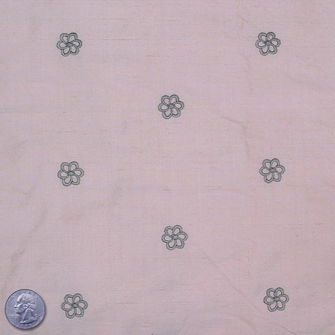 Silk Embroidered Geo Floral Shantung 15 Thistle Gray