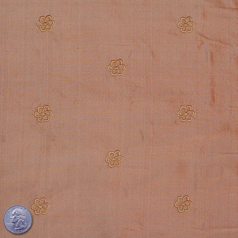 Silk Embroidered Geo Floral Shantung 16 Peru Burlywood