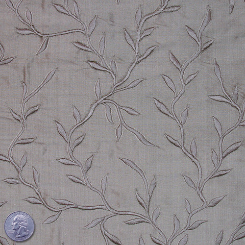 "Silk Embroidered Vines Shantung - 44"" 16 Silver Gray"