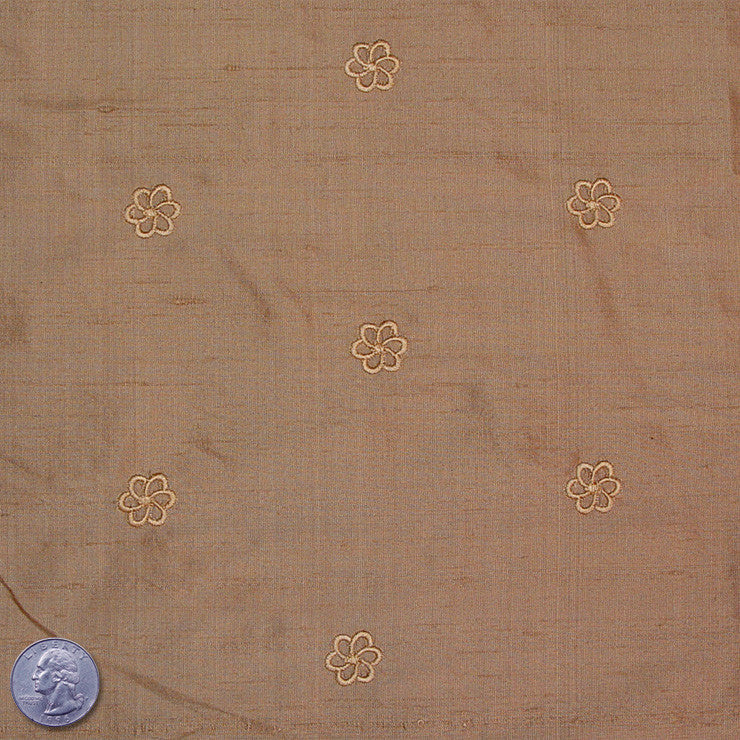 Silk Embroidered Geo Floral Shantung 16A Tan Burlywood