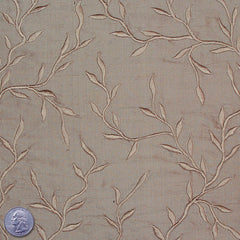 "Silk Embroidered Vines Shantung - 44"" 17 Burlywood"