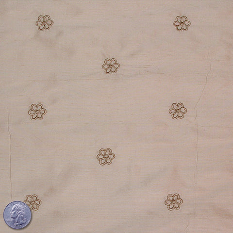 Silk Embroidered Geo Floral Shantung 17 Light Tan