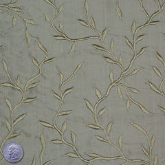 "Silk Embroidered Vines Shantung - 44"" 18 Olive"