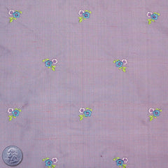 Silk Embroidered Ditsy Floral Shantung #1 18 Plum