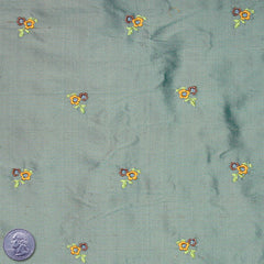 Silk Embroidered Ditsy Floral Shantung #1 19 Sea Green