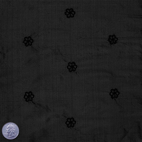 Silk Embroidered Geo Floral Shantung 20 Black