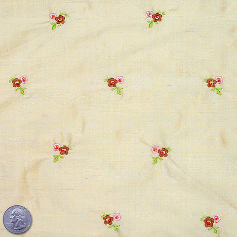 Silk Embroidered Ditsy Floral Shantung #1 20 Corn
