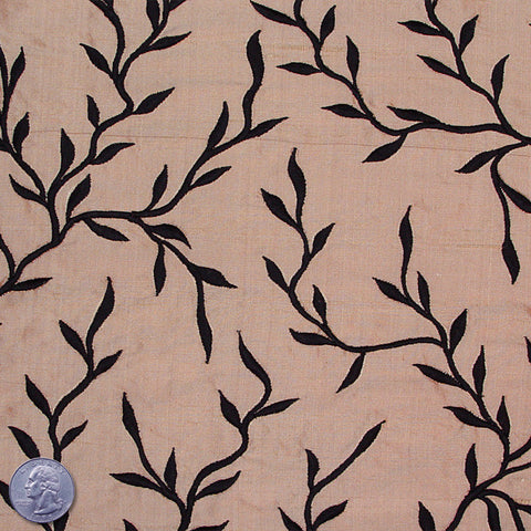 "Silk Embroidered Vines Shantung - 44"" 20 Pale Salmon"
