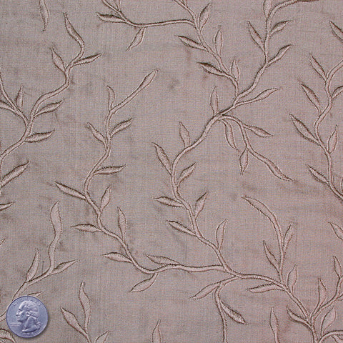 "Silk Embroidered Vines Shantung - 44"" 21 Pewter"