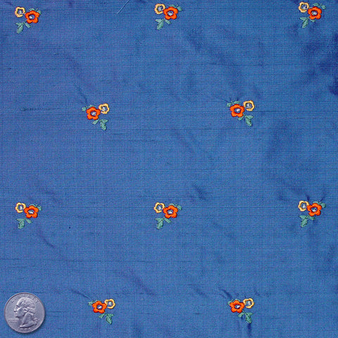 Silk Embroidered Ditsy Floral Shantung #1 21 Royal Blue