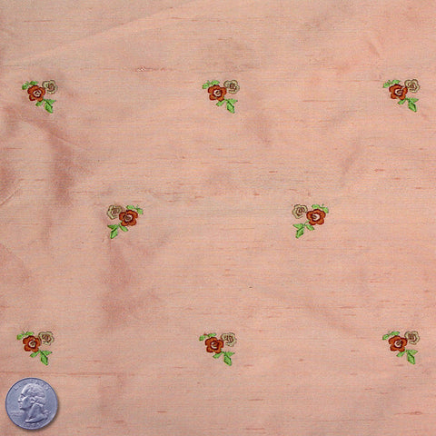Silk Embroidered Ditsy Floral Shantung #1 22 Pale Salmon