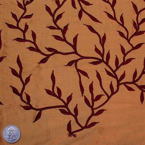 "Silk Embroidered Vines Shantung - 54"" 22 Peruvian Chocolate"