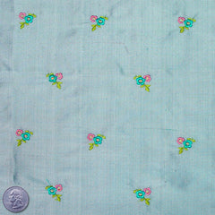 Silk Embroidered Ditsy Floral Shantung #1 23 Cadet Blue