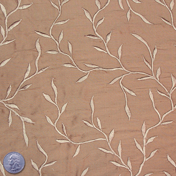 "Silk Embroidered Vines Shantung - 54"" 23 Sandy Wheat"