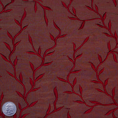 "Silk Embroidered Vines Shantung - 54"" 27 Crimson"