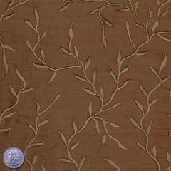"Silk Embroidered Vines Shantung - 54"" 32 Olive Brown"