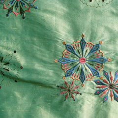 Silk Laser Cut Embroidered Shantung 02 Kiwi