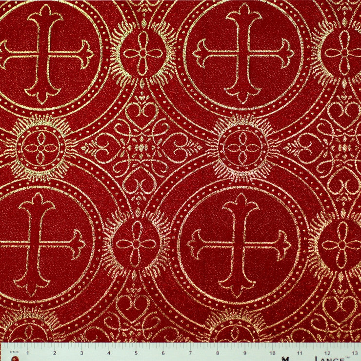 Polyester Metallic Church Brocade 02 Red Gold