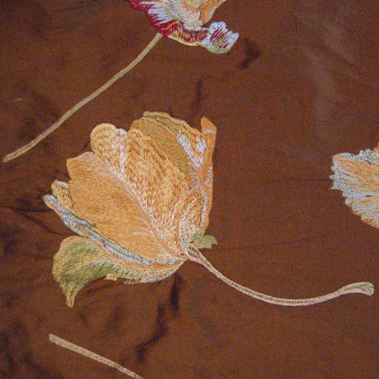 Silk Floral and Mulberry Leaf Embroidered Shantung 02 Sienna