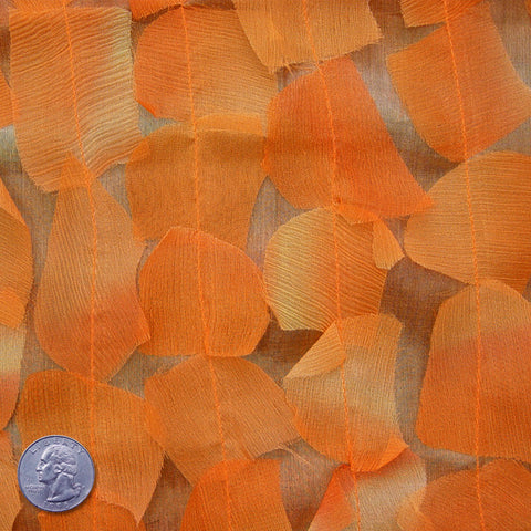 Silk Chiffon Novelty Petal Fabric 28 Orange