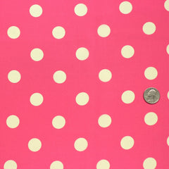 Silk Coin Dot Print Crepe De Chine Coral White
