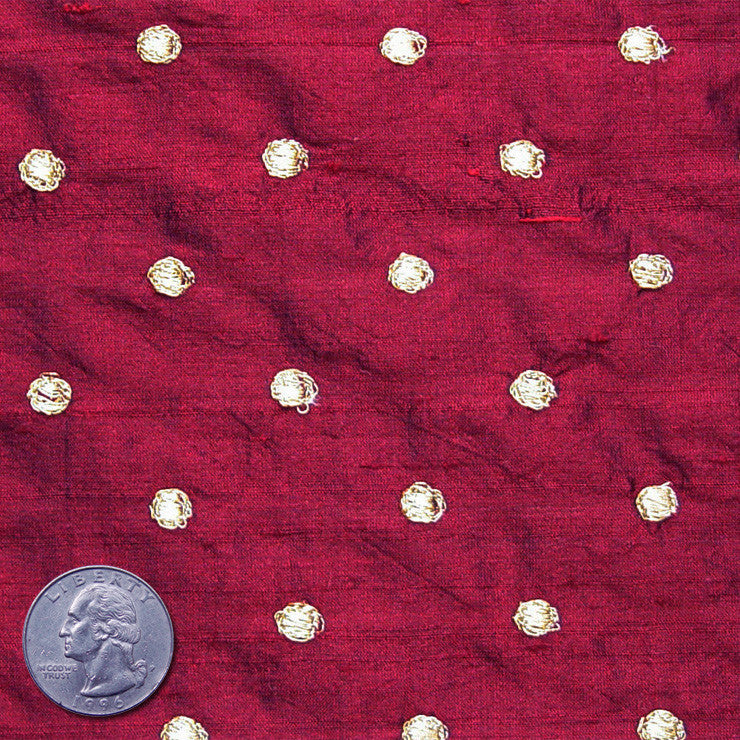 Silk Embroidered Dots Dupioni Gold On Plum