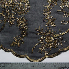 Silk Embroidered Georgette Gold on Black