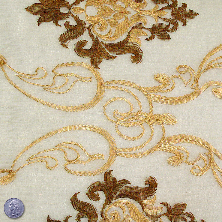 Polyester Embroidered Organza #1 Gold