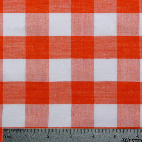 Cotton/Polyester Gingham Orange - NY Fashion Center Fabrics
