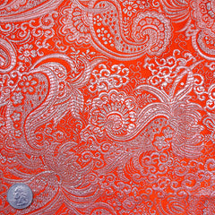 Silk Rococo Paisley Metallic Brocade Orange