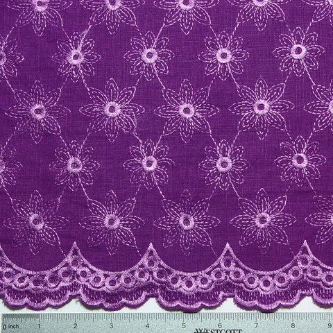 Scallop Edge Embroidered Linen Purple