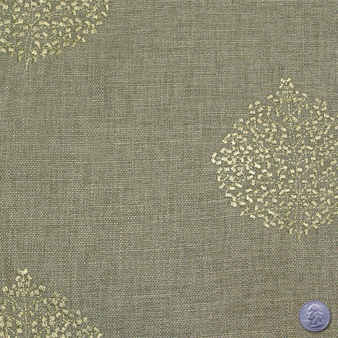 Polyester Embroidered Linen Look Sage