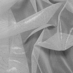 Nylon Metallic Stretch Mesh White - NY Fashion Center Fabrics