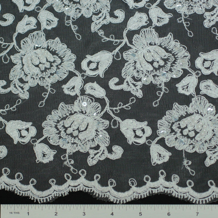 Double Scallop #84052BP White - NY Fashion Center Fabrics
