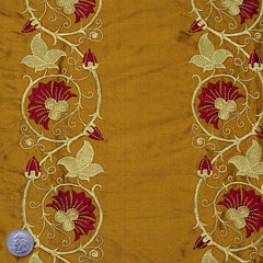Silk Embroidered Floral Vine Shantung 00 Caramel Corn