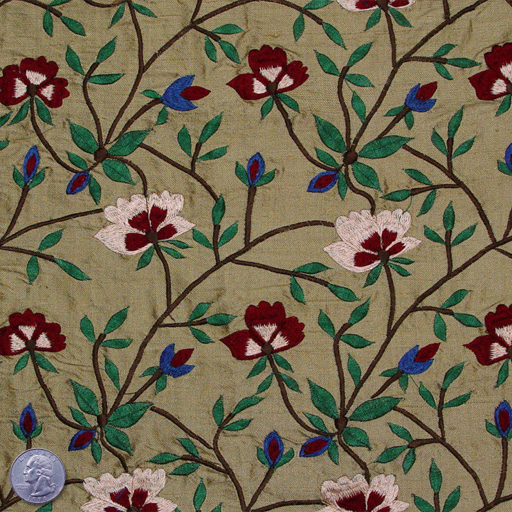 Silk Embroidered Woodland Floral Shantung 00 Pale Pea