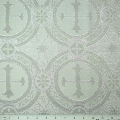 Polyester Metallic Church Brocade 00 White Silver