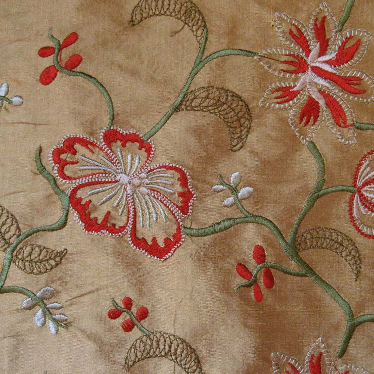 Silk Floral and Vine Embroidered Shantung 01 Brown