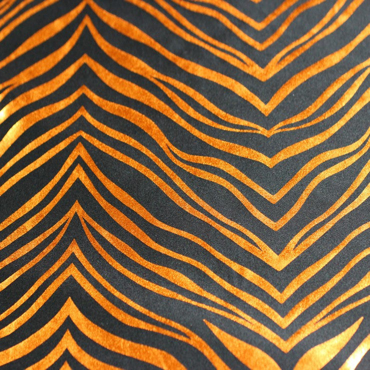 Metallic Zebra Print Spandex 01 Copper Black - NY Fashion Center Fabrics