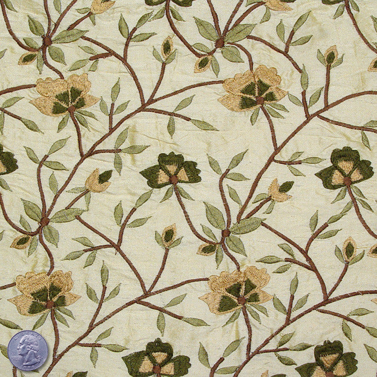 Silk Embroidered Woodland Floral Shantung 01 Mint Ice