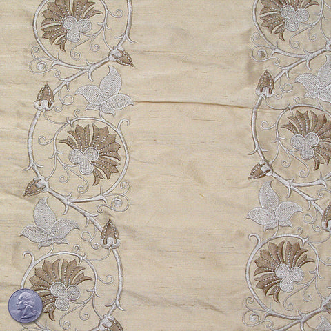 Silk Embroidered Floral Vine Shantung 01 Pale Avocado
