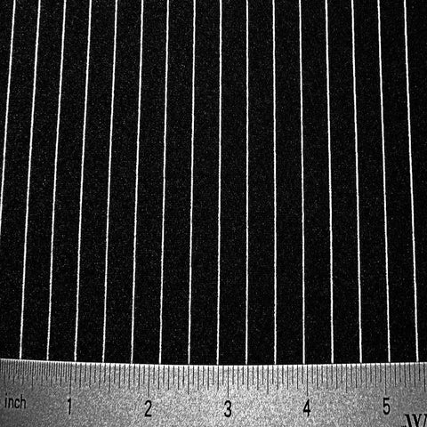 Stripes 4Way Stretch Fabric 01 Pin Stripe Black White