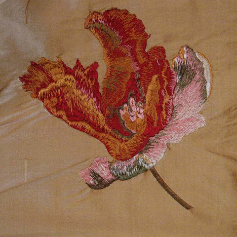 Silk Floral and Mulberry Leaf Embroidered Shantung 01 Skin