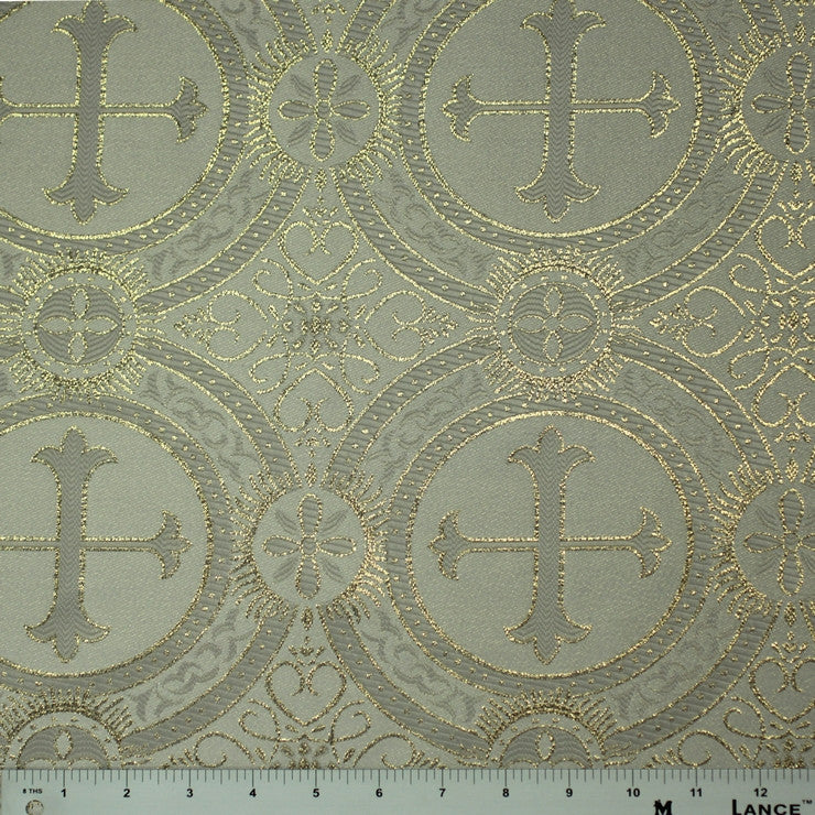 Polyester Metallic Church Brocade 01 White Gold