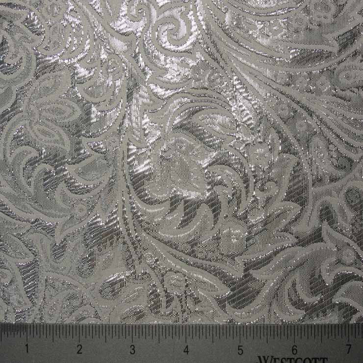 Baroque Metallic Brocade Fabric 01 White Silver Fabric By