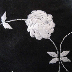 Silk Rose Embroidered Shantung 01 White on Black