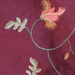Silk Entwined Floral Embroidered Shantung 01 Wine